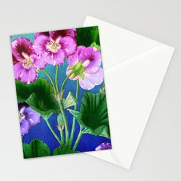 Pansies on Blue Stationery Cards