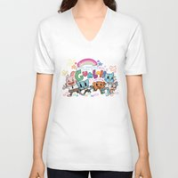 gumball V-neck T-shirts featuring GUMBALL by Suyeda