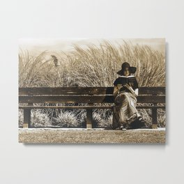 The Reader. Vintage Style Monochromatic   Photography   ... Metal Print