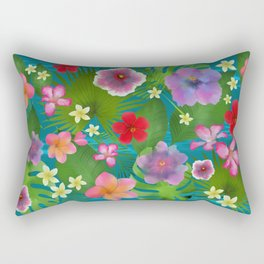 Tropical flowers exotic colorful happy summer Rectangular Pillow