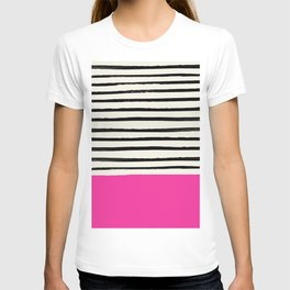 Bright Rose Pink x Stripes T-shirt