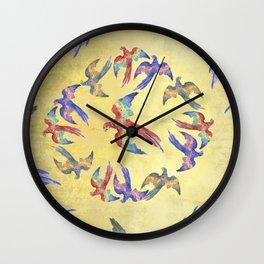 Parrots winged flight Wall Clock