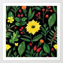 Botanic Watercolor Collection #6 Art Print