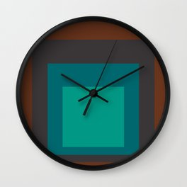 Block Colors - Browns and Teals Wall Clock
