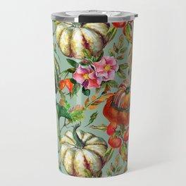 Vintage modern hand painted floral roses pumpkins pattern Travel Mug