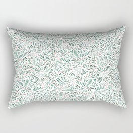 Green Leaves and Red Berries. Rectangular Pillow