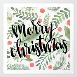 Merry Christmas Pillow Art Print