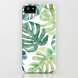 Tropical leaves Monstera leaves Jungle leaves Palm leaves iPhone Case