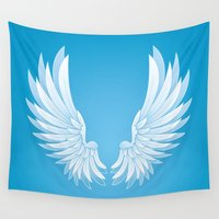 angel wings Wall Tapestries featuring wings by Li-Bro