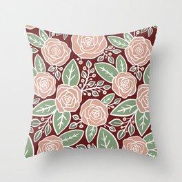 Pink roses Modern Floral Throw Pillow