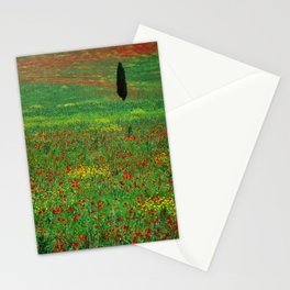 Tuscan landscape with poppies and cypress  Stationery Cards