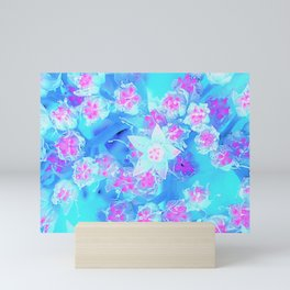 Blue and Hot Pink Succulent Underwater Sedum Flowers Mini Art Print