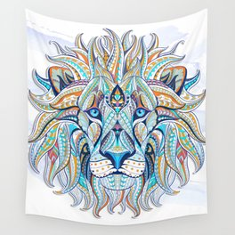 Blue Ethnic Lion Wall Tapestry