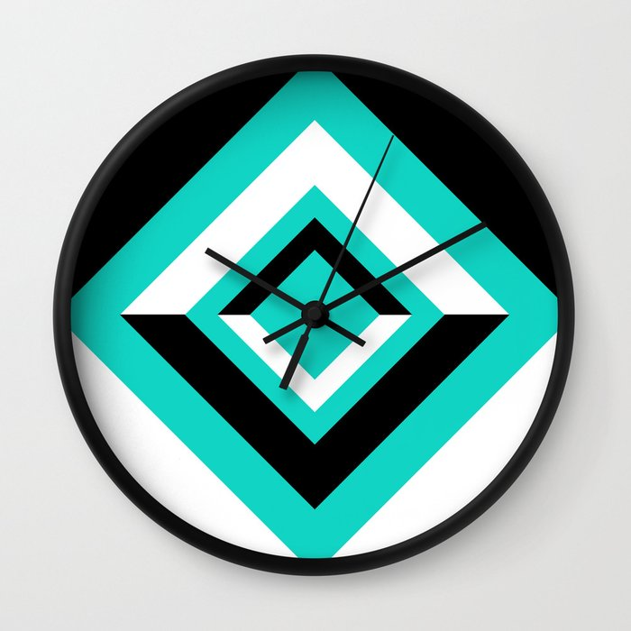 Teal Black and White Diamond Shapes Digital Illustration - Artwork Wall Clock