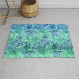 Blue and Ocean Green Summer Tropical Jungle Rug