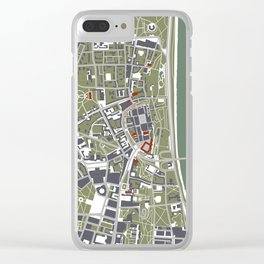 Warsaw city map engraving Clear iPhone Case