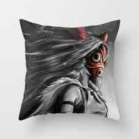mononoke Throw Pillows featuring Miyazaki's Mononoke Hime Digital Painting the Wolf Princess Warrior Color Variation by Barrett Biggers