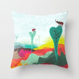 Colourful landscape with young plants, insects and birds Throw Pillow