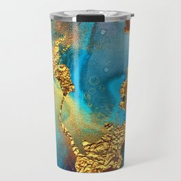 Abstract Glitter Gold and Blue Aqua Painting Travel Mug
