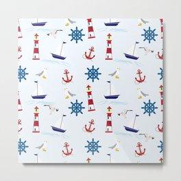 Nautical Collage Metal Print