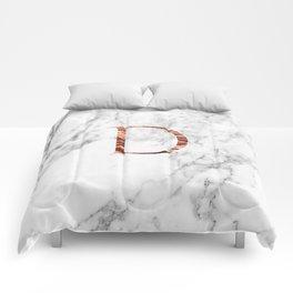 Monogram rose gold marble D Comforters