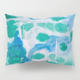 Blue and Green Wet on Wet Pillow Sham