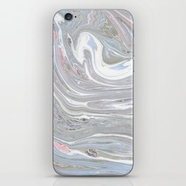 Abstract pink blue gray watercolor marble pattern iPhone Skin