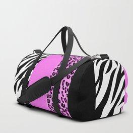 Animal Print, Zebra Stripes, Leopard Spots - Pink Duffle Bag