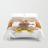 heavy metal Duvet Covers featuring Heavy Metal Power Slide. by Toni Caputo