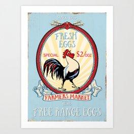 Roosters crow Art Print