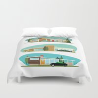 hollywood Duvet Covers featuring Hollywood Bungalows by Hand Drawn Creative