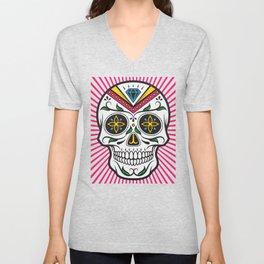 High Rolling In Your Face Dias De Los Muertos Smiling Skull Unisex V-Neck