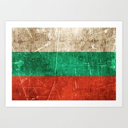 Vintage Aged and Scratched Bulgarian Flag Art Print