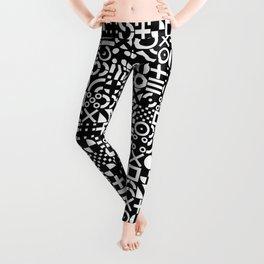 Black and White Irregular Geometric Pattern Print Design Leggings