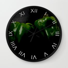 Two Green Peppers White Roman Numbers Wall Clock Wall Clock