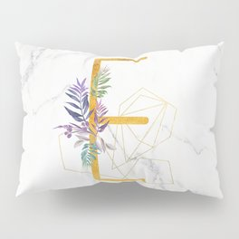 Modern glamorous personalized gold initial letter E, Custom initial name monogram gold alphabet prin Pillow Sham