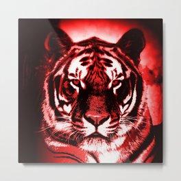 Fierce Red Tiger Metal Print