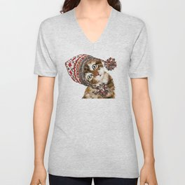 Baby Cat with the Hat Unisex V-Neck