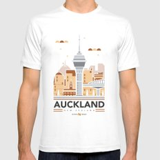 City Illustrations (Auckland, New Zealand) MEDIUM White Mens Fitted Tee