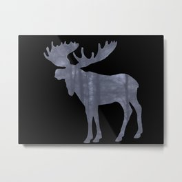 Moose Silhouette Woods Country Home Decor Farmhouse Art A064 Metal Print