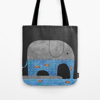 dear Tote Bags featuring Thirsty Elephant  by Terry Fan