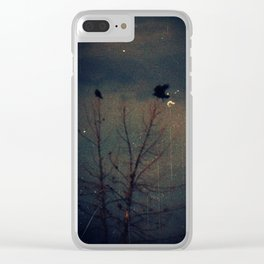 Raven's Gathering in the Blue Hour Clear iPhone Case