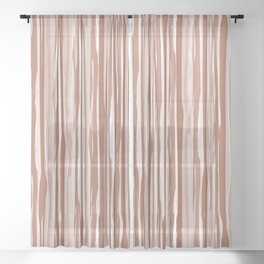 Cavern Clay SW 7701 Vertical Grunge Abstract Line Pattern on Pure White Sheer Curtain