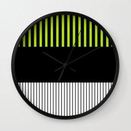 Colour Pop Stripes - Lime Green Wall Clock