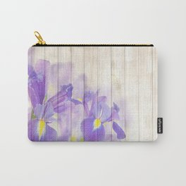 Romantic Vintage Shabby Chic Floral Wood Purple Carry-All Pouch