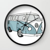 vw Wall Clocks featuring VW Camper by 1and9