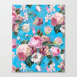 Vintage & Shabby Chic - Pastel Roses and Blush Orchid Flower Meadow Garden Canvas Print