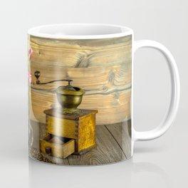 Coffee Grinder plus Jar of Beans and Tulips Coffee Mug