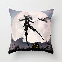 jack skellington Throw Pillows featuring Jack Skellington Kid by Andy Fairhurst Art