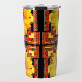QUATRE WESTERN BLACK & RED ART DECO YELLOW SUNFLOWER Travel Mug